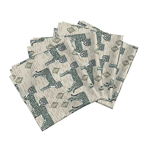 Cheetah Animal Safari Block Print Pattern Organic Sateen Dinner Napkins Cheetah - RAF Blue by Andrea Lauren Set of 4 Dinner Napkins