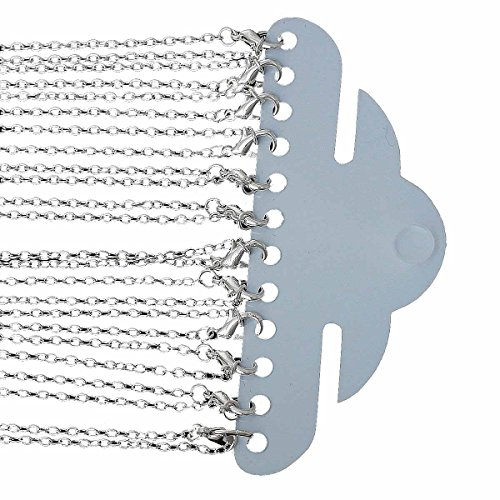 Rockin Beads 12 Pack Silver Plated Lobster Clasp Link Chain Necklaces 24 - Link Bead Chain Necklace