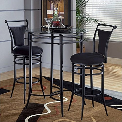Hillsdale Glass - Hillsdale Cierra Mix-n-Match 3pc Pub Table Set with Stools in Black