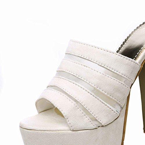 Women's Slingback Heel Open Artfaerie Slippers Platform White Sandals Mesh Toe High Mules Block TznnWF6g1