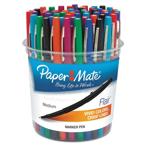 Flair Felt Tip Marker Pen, Assorted Ink, Medium, 48 Pens/Set, Sold as 48 Each by Paper Mate (Image #1)