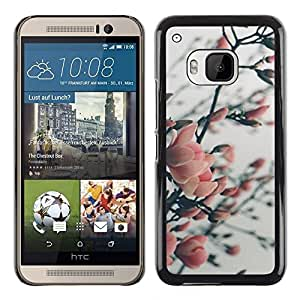 HTC One M9 , JackGot - Colorful peau Imprimé protection dur Retour Housse Shell (Cerise d'Apple Plum Tree Blossom Spring Rose)
