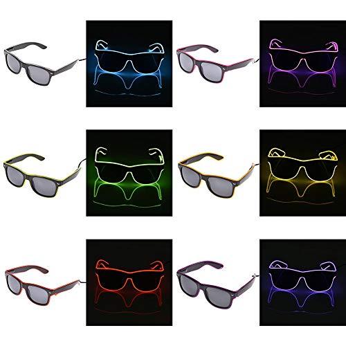 Led Costume Led Glasses Black Lenses Luminous LED Glasses EL Wire Neon Cold Light Glasses For Dancing Costume Party Atmosphere Activing DJ Glasses Props (Random) -