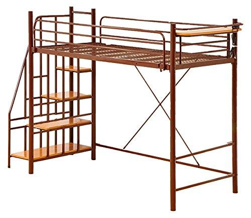 おしゃれでシンプル!ロフトベッド極太パイプベッド ブラウン(階段付き!宮棚コンセント付き) B01N5P3EN2 ブラウン ブラウン