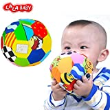 LALABABY Toys Soft Cotton Arts Cloth Ball Multicolored Sensory Rattle Bell Ball