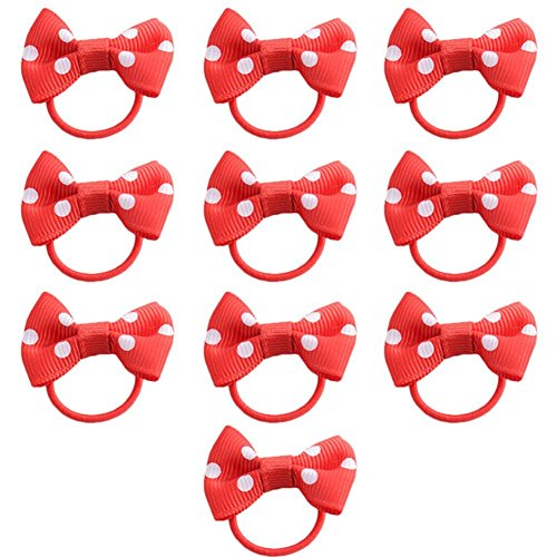 Yonger 10 Piece Bow Children Double Elastic Rubber Band Boutique Ponytail Hair Accessories Baby Girl Ladies Hair Rope