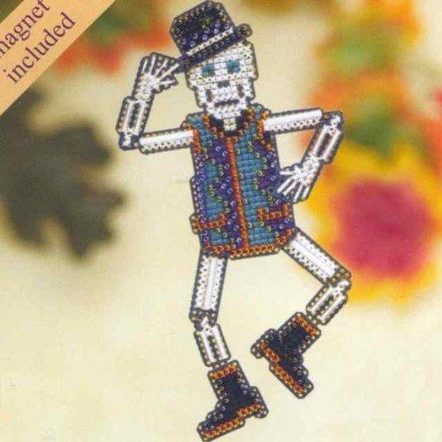 Mr Bones Beaded Counted Cross Stitch Halloween Ornament Kit Mill Hill 2009 Autumn Harvest MH18-9205