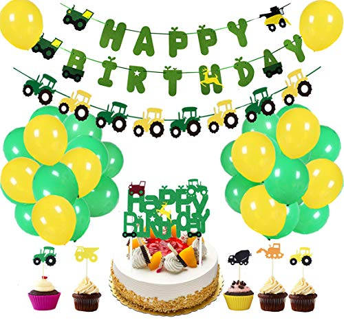 60Pcs Farm Tractor Theme Party Decorations include Tractor Happy Birthday Banner Tractor Garland Cupcake Toppers Balloons Green Tractor Construction Party Supplies and Favors for Girls Boys Kids 1st 2nd 3rd 4th Birthday Decoration (Tractor Theme Party Supplies)