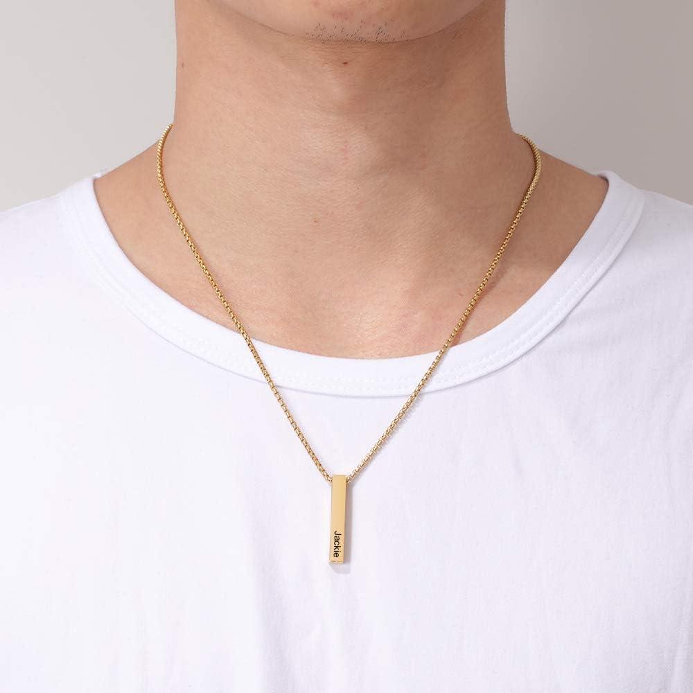 Grand Made Collar de Barra de Hombres Personalizado 4 Nombre Grabado Cadena Colgante Regalo para el D/ía del Padre Pap/á Hermano Marido Mejores Amigos Familia Cumplea/ños Aniversario