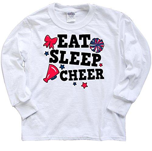 (inktastic - Cheerleading Eat Youth Long Sleeve T-Shirt Youth Medium White)