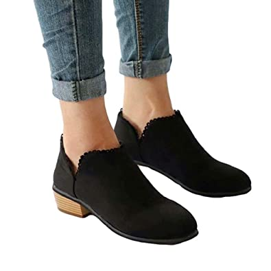 220eca70d640 Ankle Boots Women Suede Block Heel Booties Low Flat Lace Winter Walking  Shoes Espadrille Slip On