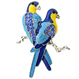 Blue Couple Parrot Bird Crystal Pin Brooch