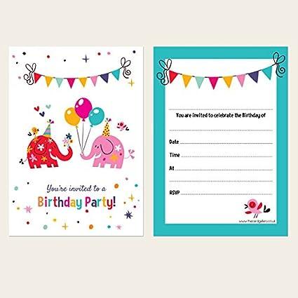 Niños Fiesta de cumpleaños invitaciones – elefantes – Pack de 10: Amazon.es: Oficina y papelería