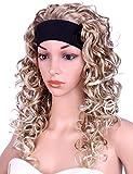Kalyss Long Curly Blonde Half 3/4 Wigs for Women Synthetic Full Head Ombre Blonde Wavy Daily Wear Headband wigs