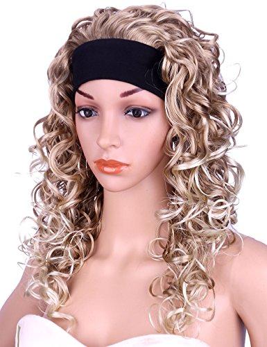 Kalyss Long Curly Blonde Half 3/4 Wigs for Women Synthetic Full Head Ombre Blonde Wavy Daily Wear Headband wigs]()