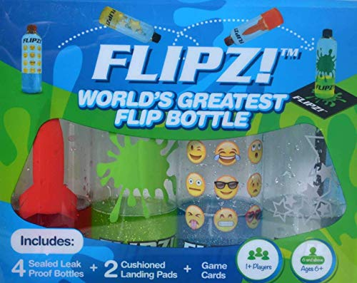 FLIPZ! The World's Greatest Flip Bottles for Bottle Flip Games! - Complete Game Set includes 4 bottles, 2 landing pads, and challenging flip game cards (Perfect Amount Of Water For Bottle Flip)