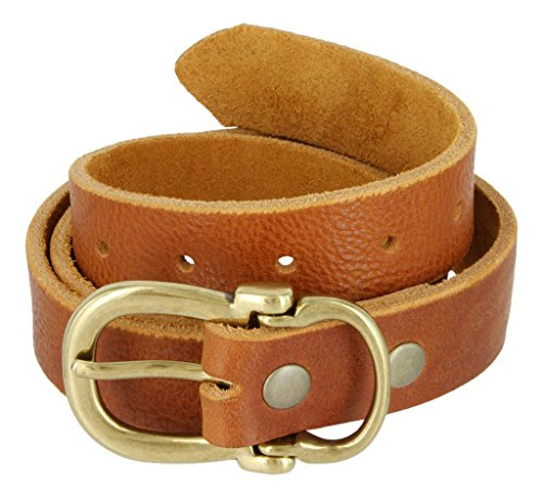 Hand Belt Buckle (Made in USA Hand Cut Full Grain Brass Buckle Thick Leather Belt for Women (Tan,)