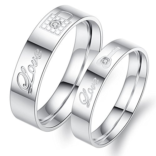 Fate Love 2pcs Stainless Steel Promise Rings for Couple with Lock and Key Pattern Silver(pack in Box) (Stainless Steel Couple Rings)
