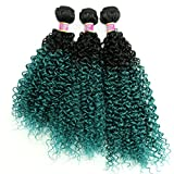 Syntheitc Weave Kinky Curly Hair Bundles Two Tone Ombre Black to Green 16 18 20 Inches 3 Bundles Hair Extensions