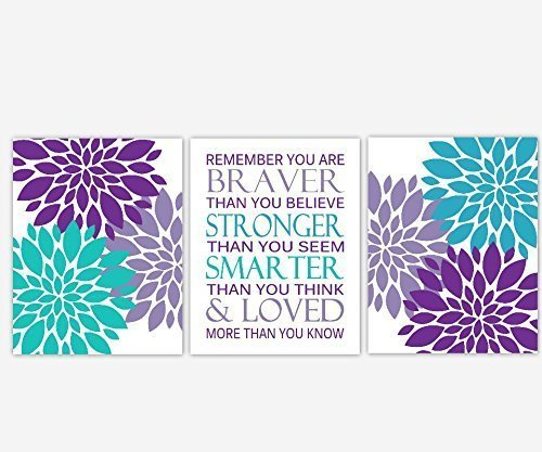 Girl Nursery Wall Art Purple Lavender Teal Aqua Turquoise Flower Burst Dahlia Mums Remember You Are  sc 1 st  Amazon.com & Amazon.com: Girl Nursery Wall Art Purple Lavender Teal Aqua ...