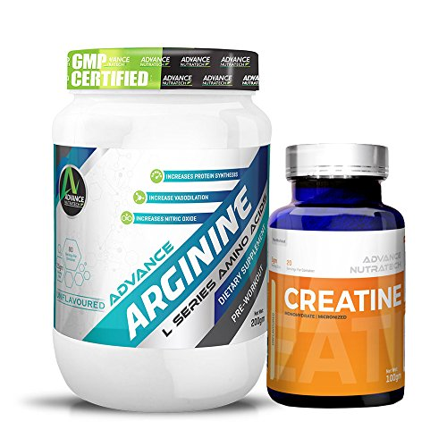 Arginine Aminos Pre-workout 200 gm unflavoured Raw Powder &Creatine Monohydrate unflavored 100 gm by ADVANCE NUTRATECH