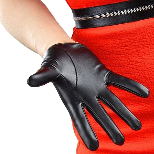 Shine Patent Leather Extra Short Gloves Black Cosplay Gothic Faux Leather Gloves