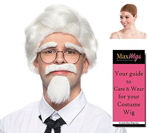 Colonel Sanders Set Color White - Enigma Wigs Mustache Goatee Facial Hair Commercial KFC Bundle w/Cap, MaxWigs Costume Wig Care Guide]()
