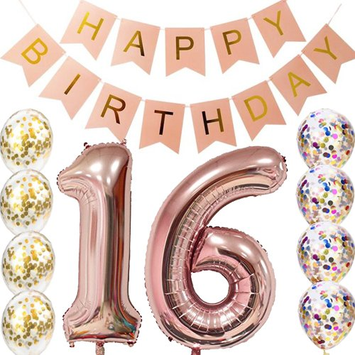 Sweet 16th Birthday Decorations Party supplies-16th Birthday Balloons Rose Gold,16th Birthday Banner,Table Confetti Decorations,16th Birthday Gifts for Girls,use Them as Props for Photos