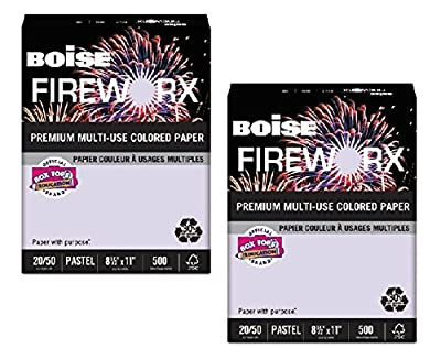 Boise Fireworx Color Copy/Laser Paper, 20 lb, Letter Size (8.5 x 11), Luminous Lavender, 500 Sheets (MP2201-LV) - 2-Pack