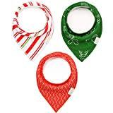 3-pack Holiday Bandana Baby Bibs With Snaps, Christmas Drool Bibs for Baby Girls and Boys 100% Organic Cotton by Numu Baby