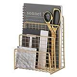 Zksanmer 3 Slot Letter Holder, Metal Multifunctional File Holder for Mails, Brochures and Postcards, Desktop Office Organizer Decoration, Gold