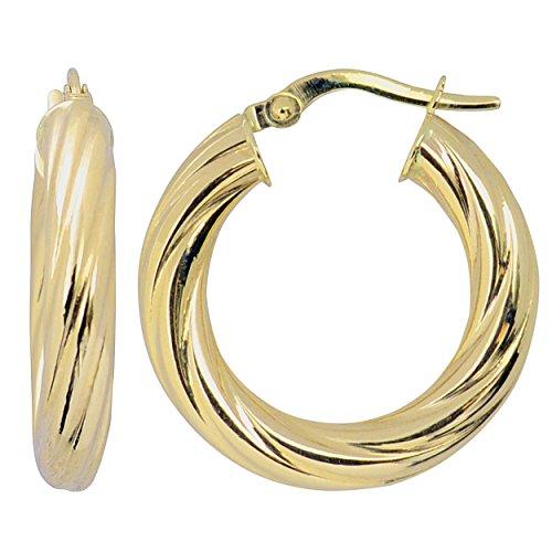 (Kooljewelry 10k Yellow Gold 4x15 mm Swirl Design Round Hoop Earrings)