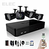 ELEC 4 Channel HDMI CCTV H.264 DVR 500GB HDD 4 CMOS 700TVL Night Vision IR Cameras Indoor / Outdoor Security Camera Kit (Mobile e-cloud viewing,Multi-channel Playback, Email Alert,Motion Detection