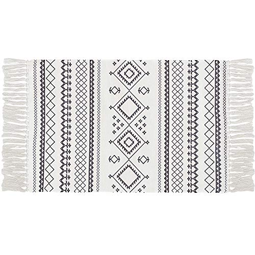 Ukeler Cotton Printed Boho Kitchen Rugs Decorative Black and White Bohemian Kilim Rug Hand Woven Accent Floor Mat for Bathroom Bedroom, 23.6