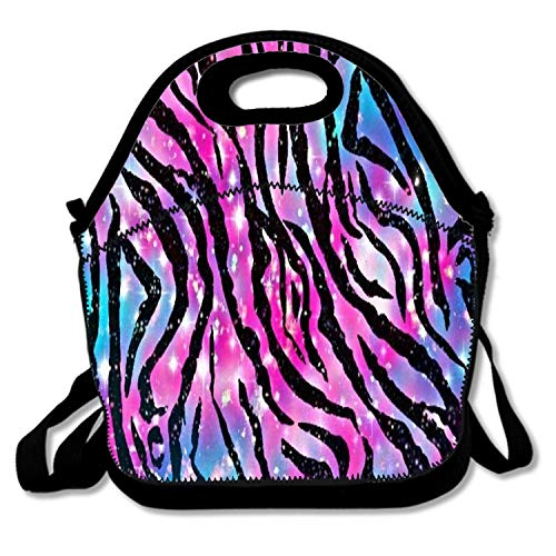 Insulated Neoprene Large Lunch Bag Tote - Washable Reusable Thermal Lunch Tote/Lunch Box/Bag Handbag For Women,Men,Kids,Adults For School Work Office, Zebra Galaxy