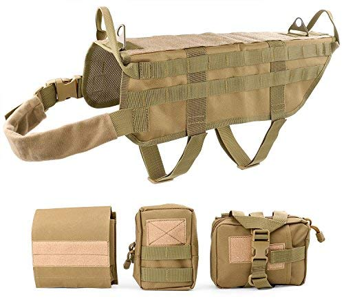 JASGOOD Tactical Dog Vest Harness Handle Training Dog Vest with Detachable Molle Pouches/Patches