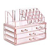 Ikee Design Acrylic Pink Jewelry & Cosmetic Storage Display Boxes Two Pieces Set.