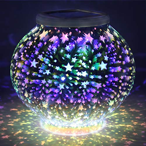 (Solar Lights, BESWILL Color Changing Mosaic Glass Ball LED Solar Garden Lights,Rechargeable Waterproof Solar Table Lights with 2 Lighting Modes for Garden Yard Home Decoration and Ideal)