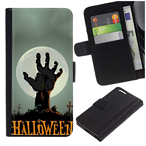 [Horror Hand Coming Out of Soil Halloween Background] for LG Aristo/LG Phoenix 3 / K8 2017 / Fortune/Risio 2 / K4 2017 / V3, Flip Leather Wallet Holsters Pouch Skin Case ()