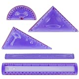 Larkpad Soft Plastic Rulers 8-inch, 180 Degree Protractor, 2 Triangle and 1 Wave, 5 in 1 Pack Flexible Rulers, inches and Metric, for Office or School, Purple