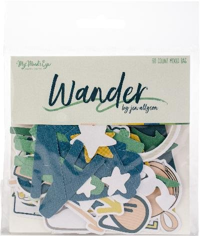 (Wander WAN116 Mixed Bag Cardstock Die-Cuts (60 Per Pack), Multicolor)