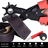 Leather Hole Punch, Cenawin Ergonomic Revolving Punch Pliers Rugged Leather Punch Tool Heavy Duty Rotary Hole Punch for Belt Saddle Dog Collars Watch Bands Straps Shoes Fabric DIY Home Craft Projects
