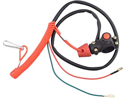 Universal Boat Outboard Motor Kill Stop Switch /& Safety Tether Lanyard 12V 2-Wires Motorcycle Engine On Off Kill Switch ATV Quad Dirt Bike Handlebar Mount Tether for Yamaha//Tohatsu//Honda 1 pc