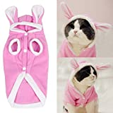 Meiying Plush Rabbit Outfit with Hood & Bunny Ears for Small Dogs & Cats Pink