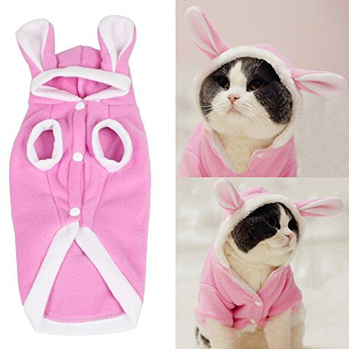 [Meiying Plush Rabbit Outfit with Hood & Bunny Ears for Small Dogs & Cats Pink] (Vinyl Cat Hood)