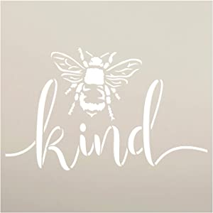 Bee Kind Stencil by StudioR12 | DIY Farmhouse Bumblebee Home & Classroom Decor | Spring Script Inspirational Word Art | Craft & Paint Wood Signs | Reusable Mylar Template | Select Size (12 x 12 inch)