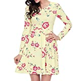 Vibola Dress for Women, O-Neck Long Sleeve Flora Print Mini Dress (S, Yellow)