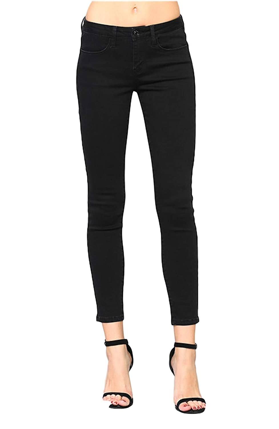 931132922df Vervet by Flying Monkey Jeans Women s Mid Rise Super Stretch Skinny Black  Negative Space Fabric 60% Cotton