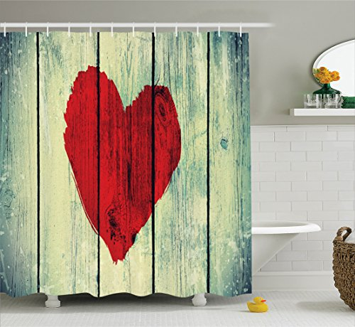 Ambesonne Love Decor Shower Curtain Set, Heart Symbol Painted on Rustic Wood Wall Romance Affection Valentines Themed Print, Bathroom Accessories, 69W X 70L Inches, Red Green
