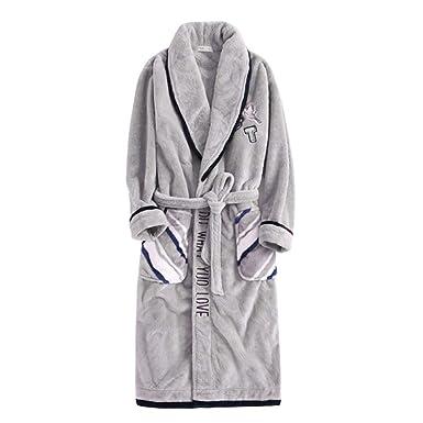 Hombre Casual Bata De Casa Coral Fleece Warm Manga Larga Batas De Dormir Ropa De Dormir